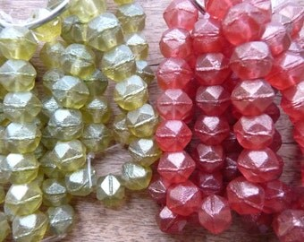 Faceted decagon glass bead strands from Czech Republic