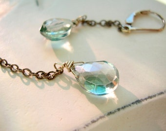 Blue Mystic Quartz Briolette on Oxidized Sterling and Sterling Silver Lever Back Earrings