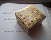 Small Florentine Box * Gold and Green * Italian Trinket Box * Ring Bearer Box * Florence Italy Art * Hinged wood Box