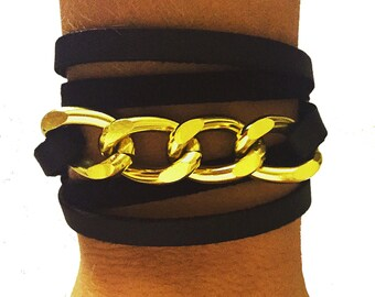 Gold Chain Black Leather Wrap with Magnetic Closure