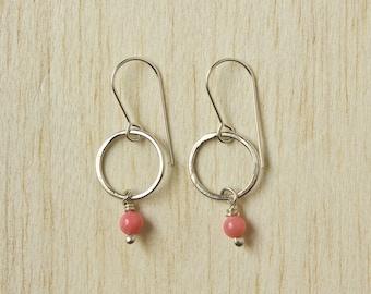 Coral Gemstone Earrings. Beaded Semi-Precious Stones, Pink, Sterling Silver, Circle, Drop