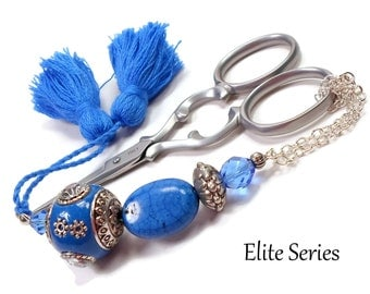 Blue Victorian Scissor Fob Beaded Handmade OOAK Scissor Keeper Scissor Minder Elite Series Needlepoint Quilting Sewing Cross Stitch