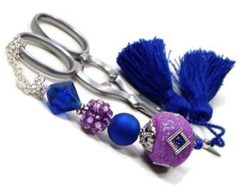 Lilac Purple Cobalt Blue Scissor Fob Beaded Scissor Keeper Scissor Minder Elite Series Needlepoint Quilting Sewing Cross Stitch