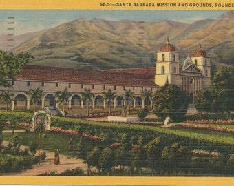 1958 Vintage Postcard - Santa Barbara Mission, California