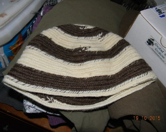 Wool Nalbound Hat Cream and Brown