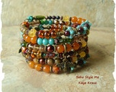 SALE - Boho Bracelet, Honey Bee Jewelry, Bohemian Hippie, Layered Wrap Bracelet, BohoStyleMe, Kaye Kraus