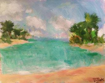 Coconut Cove, original sea and beach painting, ocean art, palm trees, blue lagoon, Florida Caribbean scene original art painting, Potak