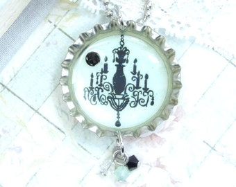 Black Chandelier Necklace Victorian Necklace Bottle Cap Necklace Paris Necklace Green And Black Necklace