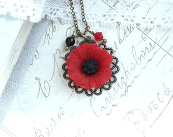 Red Poppy Necklace Wildflower Necklace Red Flower Necklace Red Popppy Jewelry Garden Necklace