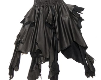 Long Leather Gothic Raw Edged Skirt