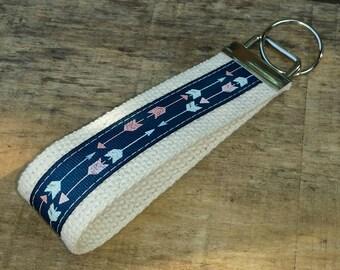 Follow Your Arrow / Archery Keychain Blue on Cream Wristlet