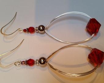Red and Chrome Beaded Dangle Earrings