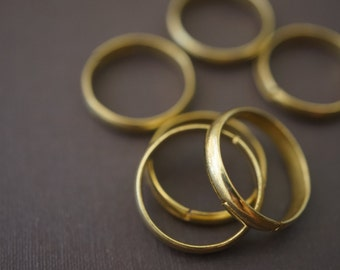 Plain and Simple Raw Brass Adjustable Open Ring Blanks  - 6 pcs