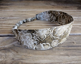 Fabric Headband with Elastic: Brown Floral