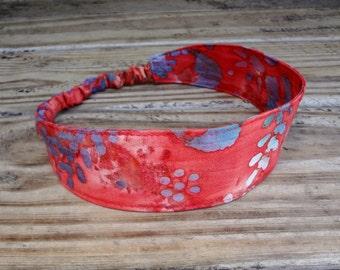 Fabric Headband with elastic: Coral and Teal Batik