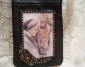 Womens Black Leather Change Purse /Cell Phone Holder/Purse Organizer with Vintage Girl and her Horse