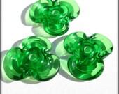 Lucky Clover Discs (3) Lampwork Beads -SRA