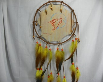 Hand Painted  Tribal Wolf Wildlife Mandala Native American Made