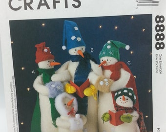 "Snow Carolers Pattern Mccalls Crafts 8888 Snow Carolers Pattern in Sizes 18 inch, 15 inch, and 9"" inch snow carolers snowpeople."