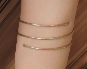 Bronze Armlet - Upper Arm Bracelet - Minimalist Triple Coil Textured Armband - Bronze Upper Arm Cuff - Arm Band - Made to Order