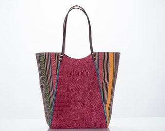 Sweater Collection: sustainble upcycled berry sweater and ethnic print shoulder strap Shopper Tote