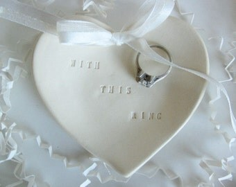 Wedding ring pillow - With this Ring - bearer dish, engagement  ring holder - wedding ring holder