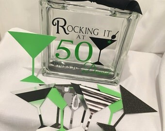 50th Birthday Wish Block - Wish Jar - Martini Themed - Rocking it at 50  -A different twist to a Guest Book