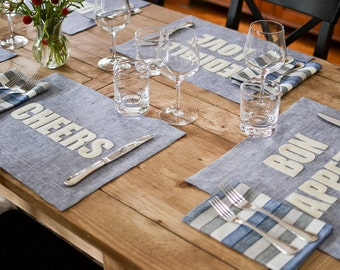 French Blue Linen Placemats - 12 phrases to choose from