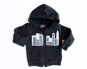 baby skyline hoodie, toddler city scape sweatshirt, Perfectly Imperfect City Scape , modern kids' clothes, hipster clothing, black and white