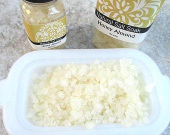 Salt Soak, Honey Almond Fragrance, Natural Sea Salts, Relaxing bath experience, choice of size