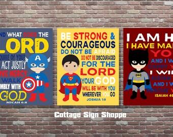 Superhero Decor,Christian Superhero Art, Scripture Superhero Art, DIGITAL, YOU PRINT, Boys Superhero Scripture Art, Superhero Scripture A