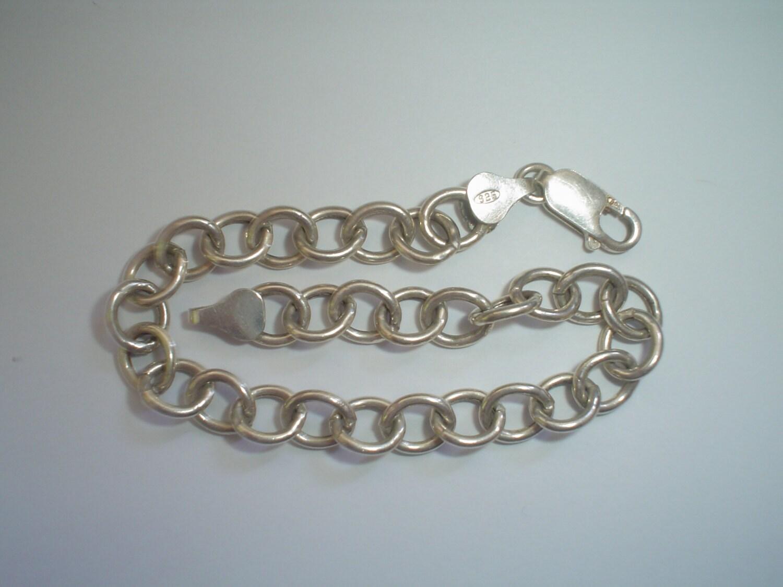 silver charm bracelet sterling starter vintage hollow links