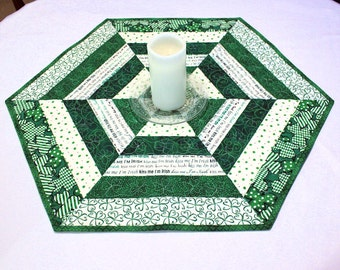 Hexagon Quilted St. Patrick's Day Table Topper  or Candle Mat, Green, White,  Shamrocks Table Runner Quilt, Kiss Me I'm Irish Cotton Fabric