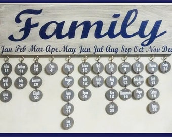 Ant. White Family Birthday Sign/Navy Lettering
