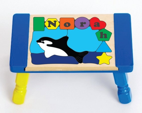 Personalized Name Orca Whale Sea Fish Theme Puzzle Stool