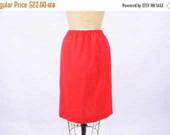 SUMMERS END SALE // 1980s skirt vintage 80s red elastic waist classic a line skirt S/M