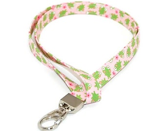 Frog Fabric Lanyard  -  ID Badge Holder for your Name Tag or Keys