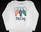 Custom Personalized Applique Gingham STRING of FISH and NAME Bodysuit or Shirt - Orange, Navy Blue, Kelly Green, and Lt Blue