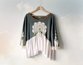 Boho Lace Top Plus Size Tunic Women's Shabby Shirt Bell Sleeve Lagenlook Clothing Bohemian Gypsy Romantic Clothes Green Babydoll XL 1X 'LEXY