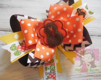 Turkey Layered Boutique Hair Bow--Thanksgiving Hair Bow--Fall Hair Bow