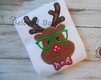 Rudolph with Bow Tie Applique Shirt for Boy--Personalized--Christmas Shirt