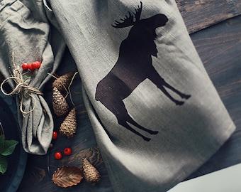 Moose teatowel handprinted linen