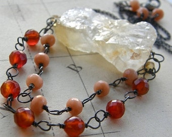 Summer Sale Big Bold Rough Cut Citrine Nugget and Carnelian Statement Necklace, Stone Pendant Boho Jewelry