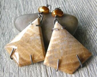 Petrified Wood Metalwork Earrings, Gold Pearl and Brown Stone Drop Leverback Earrings