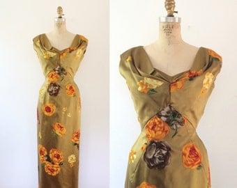 1950s dress / silk and velvet dress / Silk Helga dress