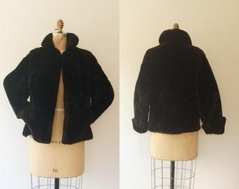 vintage fur coat / vintage wool coat / Sheared Mouton coat