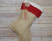 Personalized Christmas Stocking Tag - Add a Stocking Tag - Monogrammed Stocking Tags - Reusable Gift Tag - Burlap Stocking Tags -