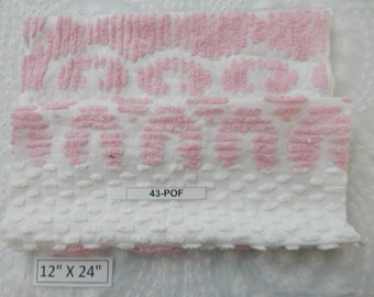 "Two pieces vintage white and pink Chenille Fabric 12""x 24"" (43-POF)"
