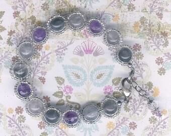 Amethyst Bracelet, Gray Quartz Bracelet, Purple Stone Bracelet, Gray Stone Bracelet, Stone Bracelet, Lavender Stone, Woven Glass Bracelet