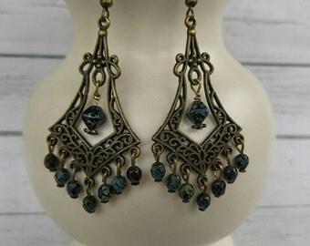 Long Antique Brass Earrings - Beaded Earrings - Tribal Earrings - Ethnic Earrings - Boho Chandelier Earrings - Bohemian Jewelry